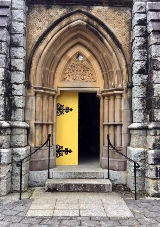 Saw this beautiful church with yellow doors. (Bodalla).