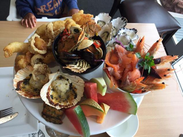 The Wharf Resturant at Merimbula had nice ocean views (aquarium at the bottom) and this platter which was best we have had. It was not cheap but worth it.