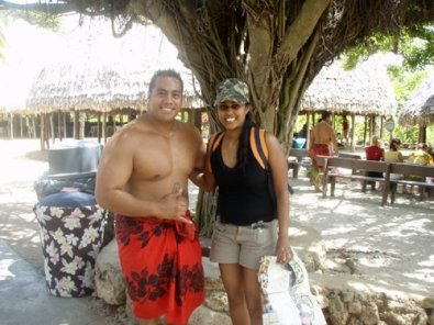 Hanging with a local wearing traditional skirt (sulu - Fijian)