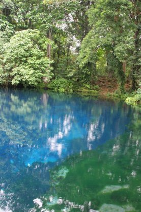 The blue pools was a vibrant blue color