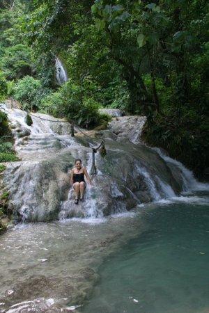 Belinda enjoying the waterfalls.