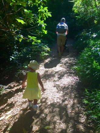 Following daddy on the nature path